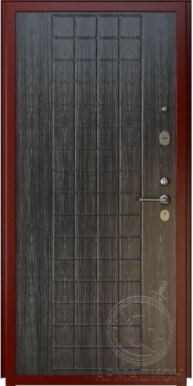 Дверь входная «Порто» шагрень вишня/чёрное серебро