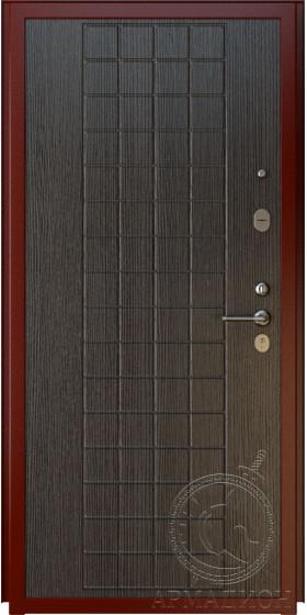 Дверь входная «Порто» шагрень вишня/венге лайн