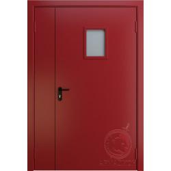 Противопожарная двустворчатая дверь с окном EI 60 РАЛ 3002