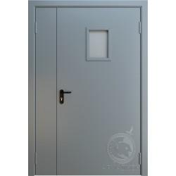 Противопожарная двустворчатая дверь с окном EI 60 РАЛ 7001