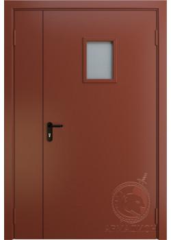 Противопожарная двустворчатая дверь с окном EI 60 РАЛ 8004