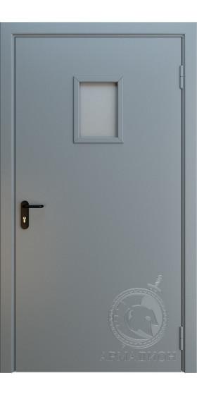 Противопожарная одностворчатая дверь с окном EI 60 РАЛ 7001