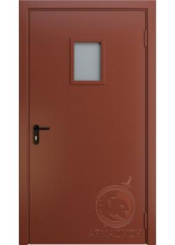 Противопожарная одностворчатая дверь с окном EI 60 РАЛ 8004